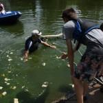 Tony slips into the lake!